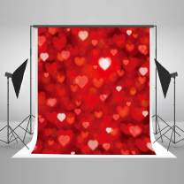 Kate 6.5x10ft Valentine's Day Photography Backdrops Red Heart Glitter Microfiber Photography Props