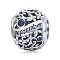 BAMOER Birthstone Charms for Bracelet 925 Sterling Silver Happy Birthday Charms for Necklace