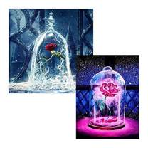 Diamond Painting Kits for Adults Kids,2 Pack 5D DIY Rose Diamond Art Accessories with Round Full Drill for Home Wall Decor - 11.8×11.8Inches