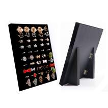 Homeanda Black Foldable Velvet L-Shaped 50 Slots Ring Earring Jewelry Display Tray Organizer Holder (Foldable L-Shaped 50 Slots-Black)