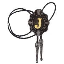Bolo Tie for Men- Vintage Initial Letter ABCDMJR to Z Western Cowboy Costume Wedding Bolo Ties