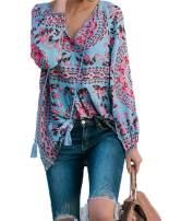 Vanbuy Women's Casual Boho Floral Print V Neck Long Sleeve Shirts Tops Loose Flowy Blouses