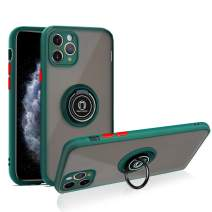 SOKAD iPhone 11 Pro Max Case with Ring 6.5 inch, Anti-Scratch Case with 360 Degree Rotation Finger Ring Kickstand Work with Magnetic Car Mount Compatible for iPhone 11 Pro Max (2019) - Dark Green