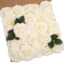 N&T NIETING Artificial Flowers Roses Bulk, 25pcs 3.74in Large Size Real Touch Artificial Foam Roses with Stem for Cake Decoration, Wedding Bridal Bouquets Centerpieces, Party Home Display-Ivory