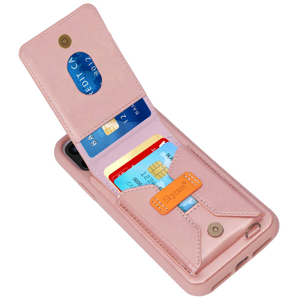 """Skycase iPhone 11 6.1"""" Case, iPhone 11 6.1"""" Wallet Case, Protective Back Cover Case with Detachable Hand Strap and Card Slots for iPhone 11 6.1"""" 2019, Rose Gold"""