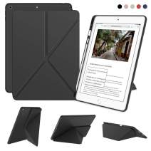 DTTO iPad 7th Generation Case with Pencil Holder, [Flexible Series] Multiple Position Stand Cover Case Soft TPU Back for iPad 10.2 inch 2019 [Auto Sleep/Wake], Gray