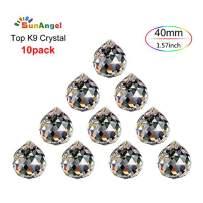 SunAngel Top k9 Faceted Prism Crystal Ball Sun Catcher Rainbow Pendants Maker,Chandelier Drops Crystal,Prism Windows,Decor Crystal Pendant, Hanging Crystals Prisms (40MM Clear Prism Balls-10Pack)