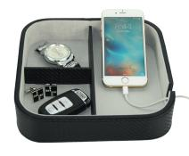 Three Compartment Black Carbon Fiber Catchall Charging Station Phone Case Coin Tray Valet Tray for Keys, Phone, Jewelry, Valet, Accessories
