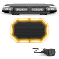 SpeedTech Lights K-Force 18 Mini Light Bar 120 Watts LED Strobe Lights for Trucks, Cars, Plows, and Emergency Vehicles with Magnetic Roof Mount - Amber/Amber (Yellow/Yellow)