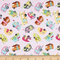 Timeless Treasures 0513471 Mini's Campers Pink Fabric by The Yard,