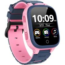 """OVV Kids Smart Game Watch for Boys Girls with 14 Puzzle Games HD Dual Camera 1.44"""" Touchscreen Music Video Player 12/24 Hr Alarm Clock Pedometer Flashlight Toddler Learning Toys Birthday Gifts (Pink)"""