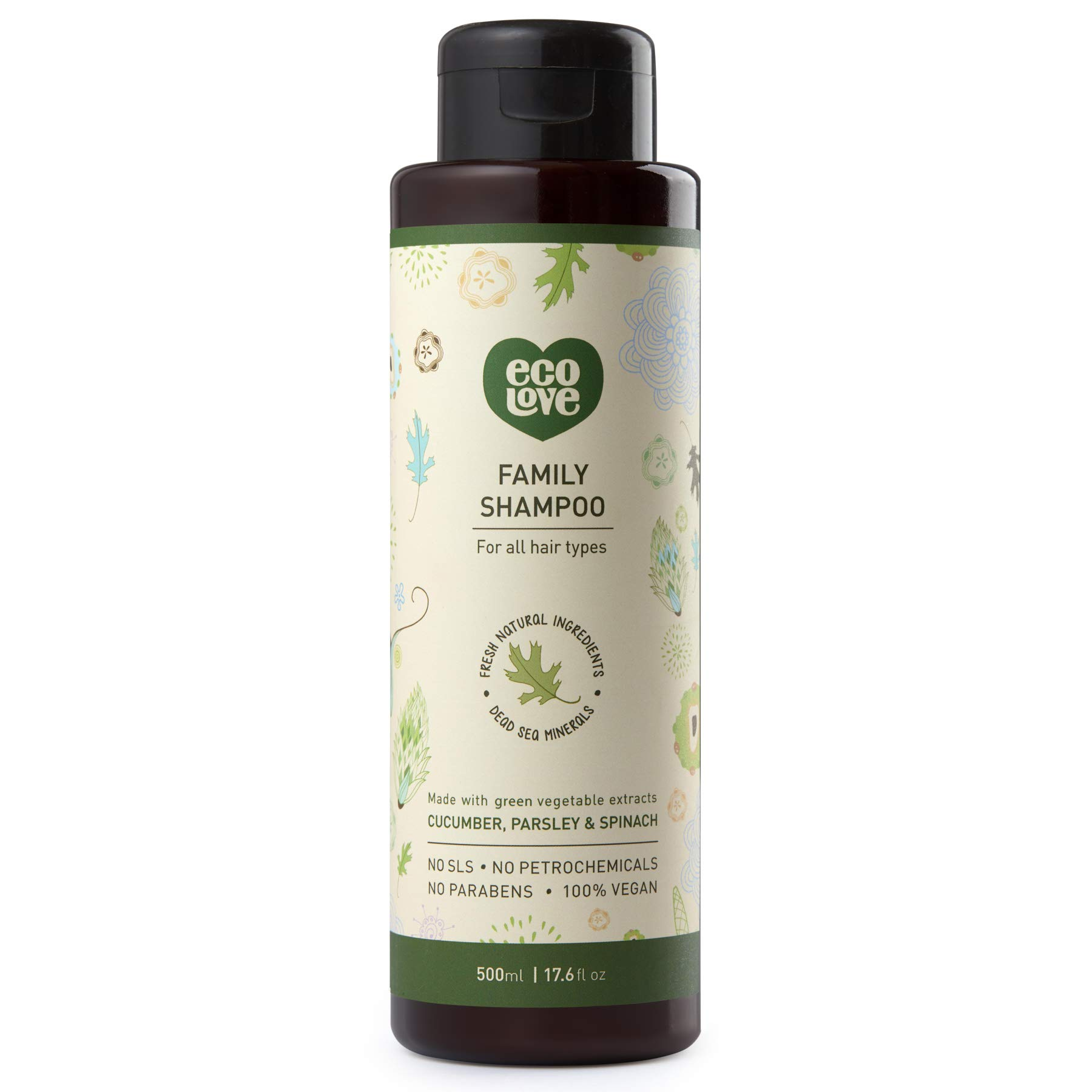 ecoLove Natural Shampoo with Organic Cucumber Spinach and Parsley for All Hair Types, Vegan Shampoo for Women Men Kids Babies, SLS Paraben and Cruelty Free, 17.6 oz