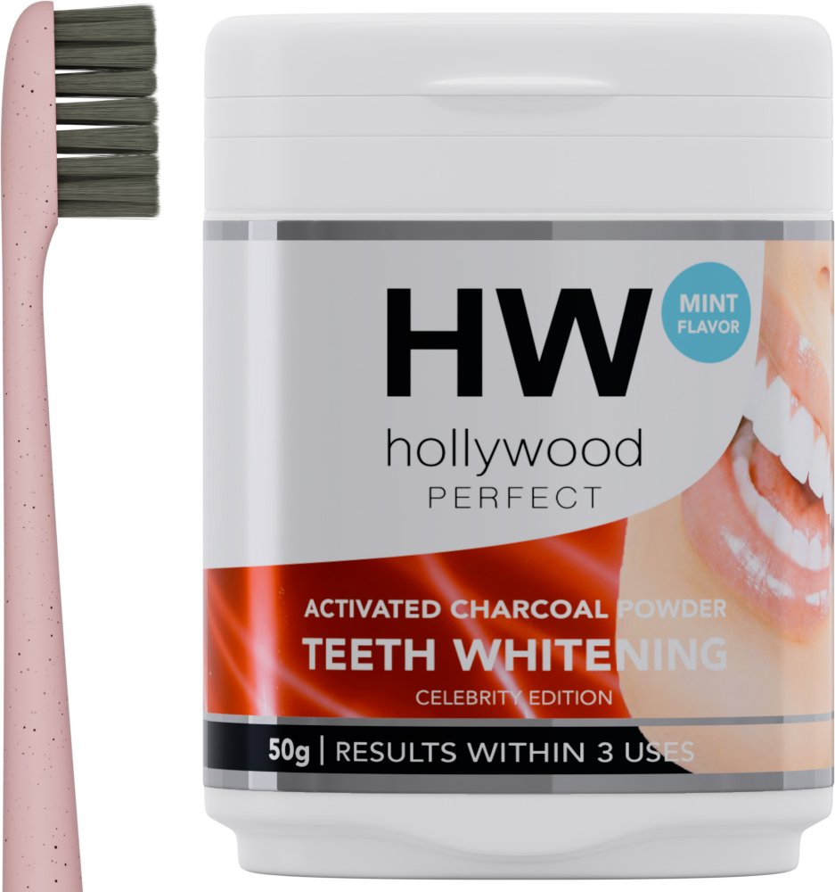 Hollywood Perfect Activated Charcoal Powder Teeth Whitening Formula With Mint Flavor, Charcoal Bristles Toothbrush Included, Improve Dental Health, Quick Results Against Coffee And Tea Stains