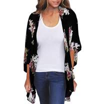 Zando Women's Floral Print Kimono Cardigans Summer Loose Puff Sleeve Open Front Cover Up Casual Blouse Tops