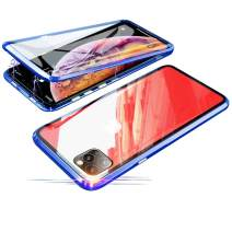 Compatible with iPhone 11 Pro Max (6.5 inch) Case, Jonwelsy 360 Degree Front and Back Transparent Tempered Glass Cover, Strong Magnetic Adsorption Technology Metal Bumper (Blue)