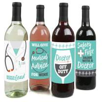 Big Dot of Happiness Medical School Grad - Doctor Graduation Party Decorations for Women and Men - Wine Bottle Label Stickers - Set of 4
