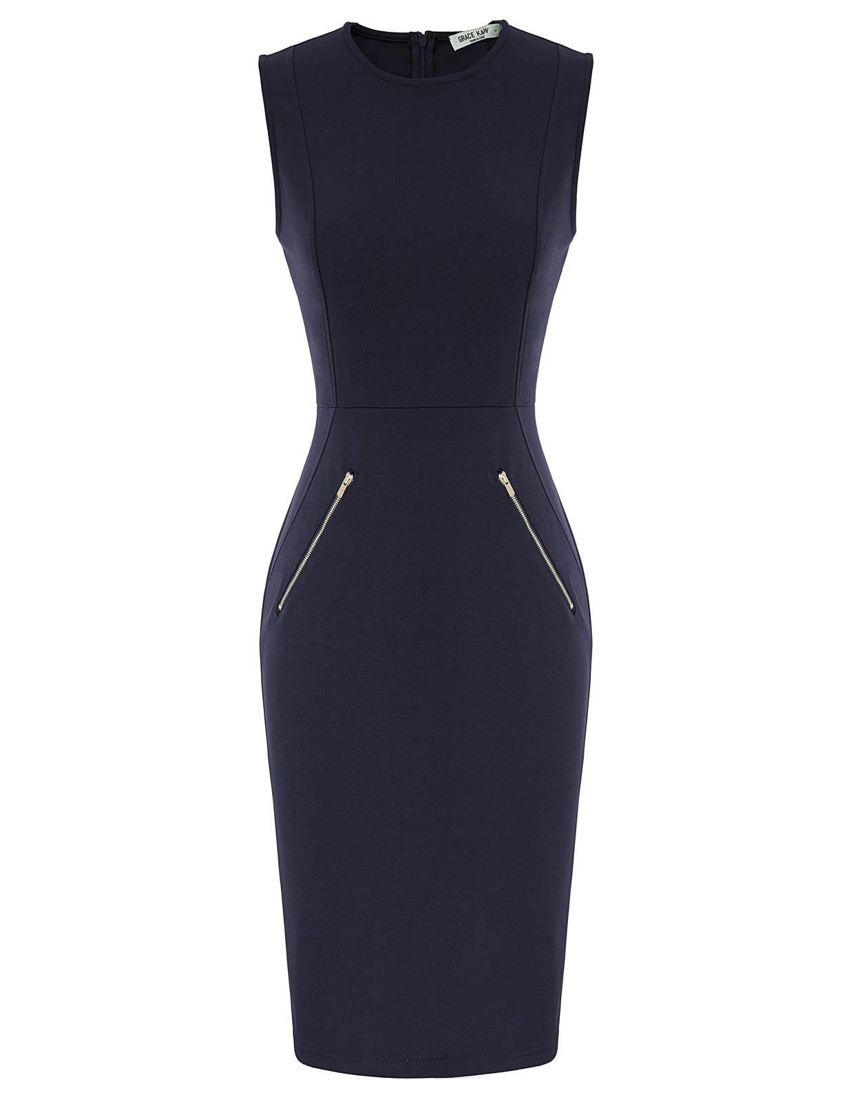 GRACE KARIN Women's Sleeveless Pocket Hips-Wrapped Bodycon Pencil Dress
