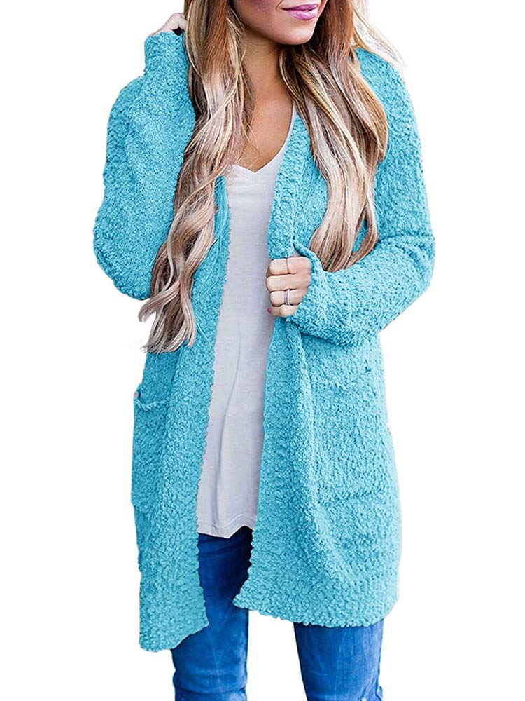 Womens Fuzzy Open Front Cardigans Plus Size Fleece Sherpa Sweaters Coat with Pocket