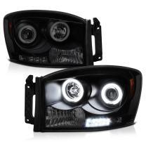 [For 2006-2008 Dodge RAM 1500 2500 3500] CCFL Halo Ring Black Smoke Projector Headlight Headlamp Assembly, Driver & Passenger Side