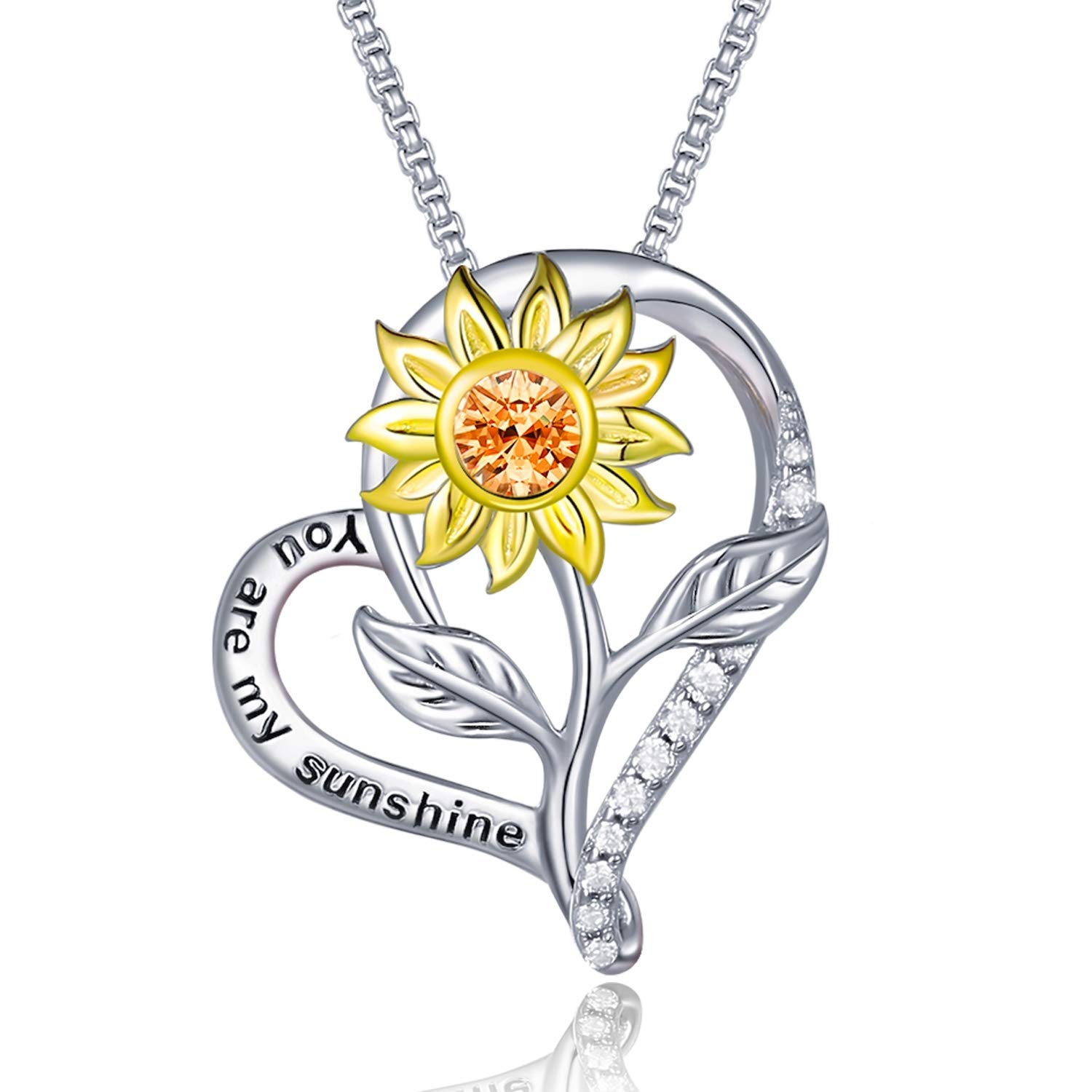 """Klurent 925 Sterling Silver Sunflower Heart Necklace for Women""""You Are My Sunshine"""" Love Pendant Necklace Gift for Mom Girls Daughter Birthday,14K Sun Flower Necklaces Jewelry Gift for Her Mother"""