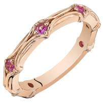 Peora Sterling Silver Stackable Ring in Created or Simulated Gemstones, 2.30mm Contoured Band for Women, Size 5 to 9