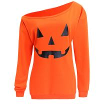 Dutebare Women Halloween Off Shoulder Sweatshirt Slouchy Witch Shirt Long Sleeve Pullover Tops