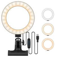"""Fordim 6.3"""" LED Ring Light,Fill Light with Clamp,3 Dimmable and 10 Brightness Level,360°Adjustable Angle,Installed on Computer/Desk/Bed,for Video Conference, Selfie, Makeup, Table Lamp, Night Light"""