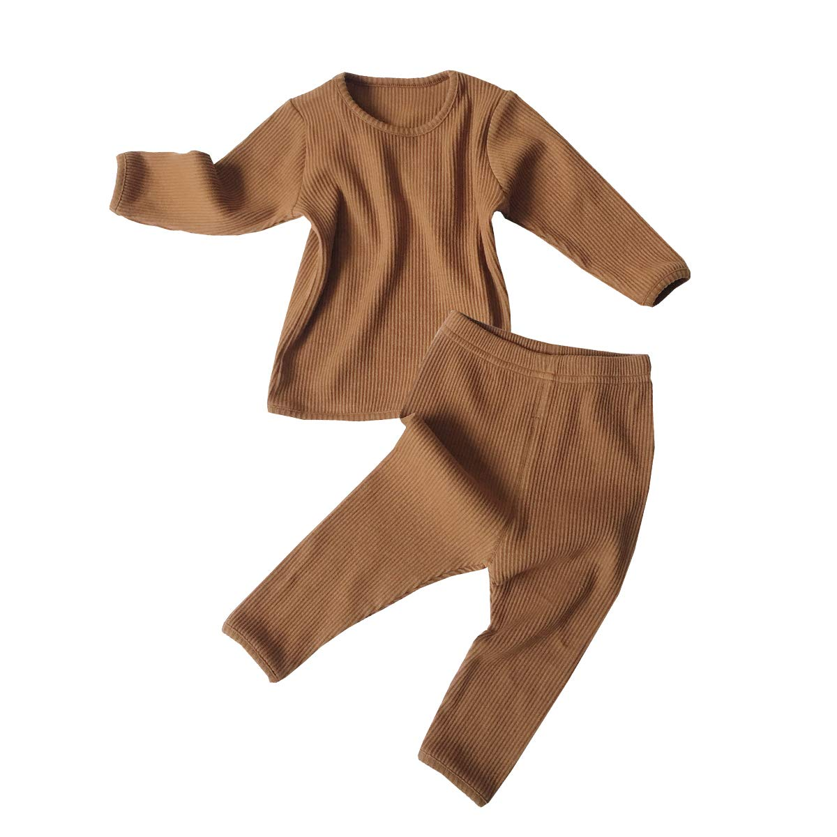 Toddler Baby Boys Girls Pajama Cotton Line Clothes Tee and Pants 2Pcs Sleepwear Set Solid Color Outfit