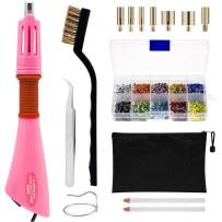 Hotfix Applicator, DIY Rhinestone Wand Setter Tool Kit Include 7 Different Sizes Tips, Tweezers & Brush Cleaning kit, 2 Pencils, and Hot-Fix Crystal Rhinestones (10 Colors Rhinestone) (Pink)