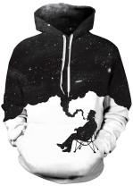 Imilan Women's Galaxy Cosmic Animal Print Hoodie Unisex Sweatshirt