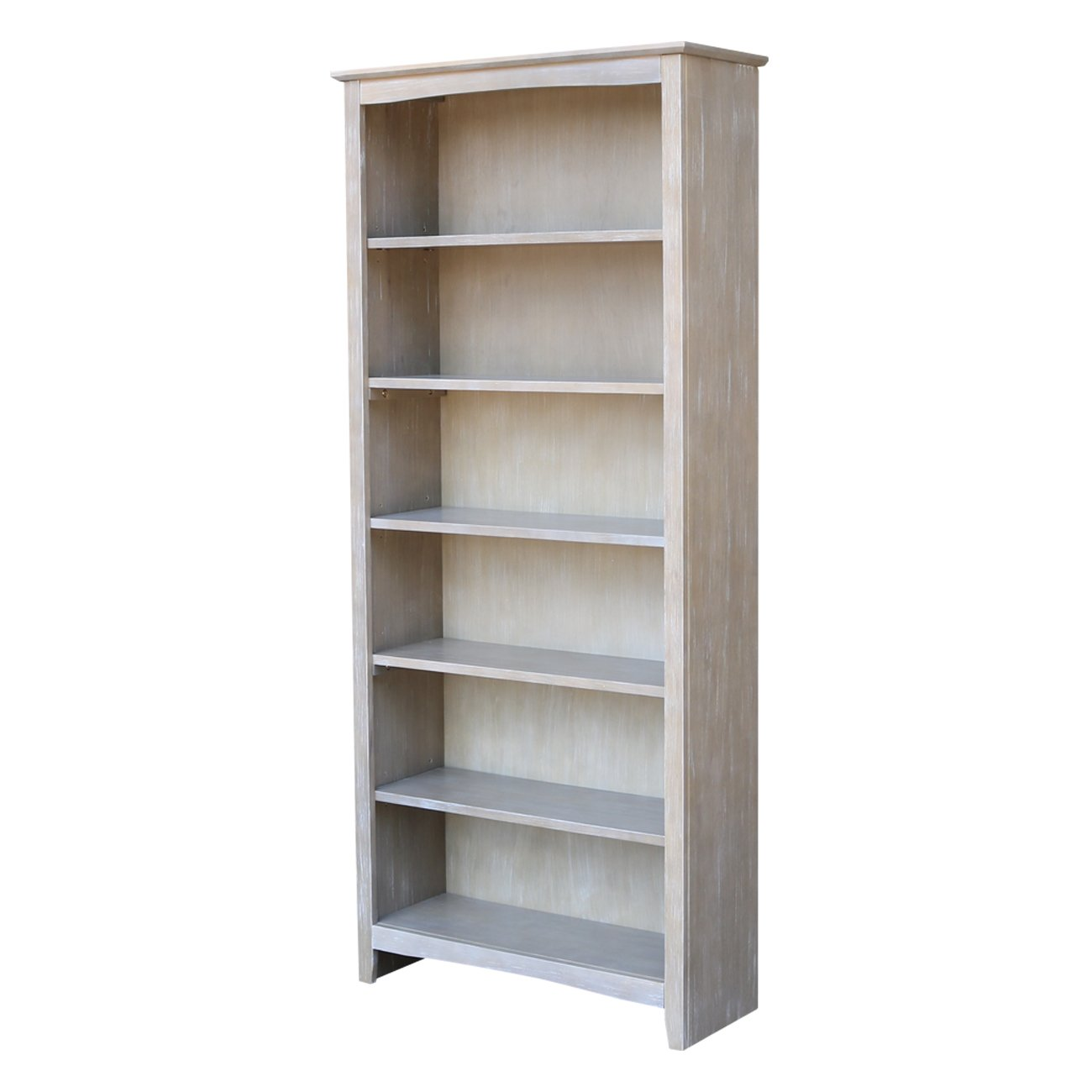 """International Concepts Shaker Bookcase, 72"""", Washed Gray Taupe"""