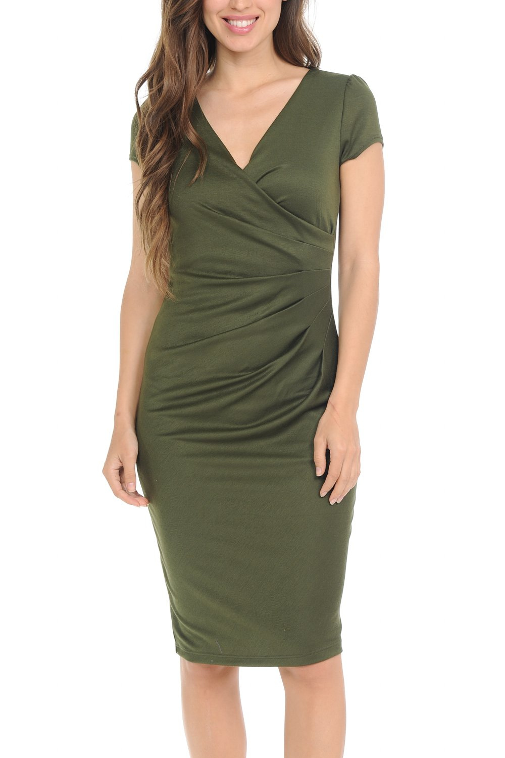 Auliné Collection Womens V-Neck Zip Up Work Office Career Side Wrap Sheath Dress
