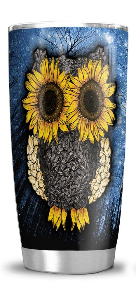64HYDRO 20oz Sunflower Owl Lover Gift Tumbler Cups with Lid, Double Wall Vacuum Sporty Thermos Insulated Travel Coffee Mug