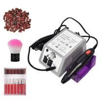 Professional Electric Nail Drill 20,000 RPM Nail Drill Machine for Shaping, Buffing, Removing Acrylic Nails with 100 Pcs of Sanding Bands and 6 Replaceable Drill Bits for Home Salon Use Gray