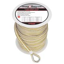 """Extreme Max 3006.2249 BoatTector Premium Double Braid Nylon Anchor Line with Thimble - 3/8"""" x 200', White & Gold"""