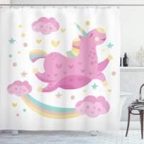 "Ambesonne Unicorn Shower Curtain, Smiley Unicorn with Star Rainbow Funny Cartoon Kids Room Nursery, Cloth Fabric Bathroom Decor Set with Hooks, 75"" Long, Yellow Pink"