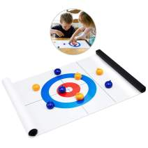 Tabletop Curling Game, Family Games for Kids and Adults Compact Curling Board Game Portable Mini Tabletop Games for Family/School/Travel/Best Parent-Child Games Blue