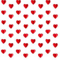 LeeSky 4 Pack 3D Red Heart Garland Banner-Valentine's Day Party Decorations Wedding Party Engagement Party Home Decorations