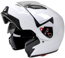 Typhoon Modular Motorcycle Helmet DOT Dual Visor Full Face Flip-up - White Adult Small/Youth XL