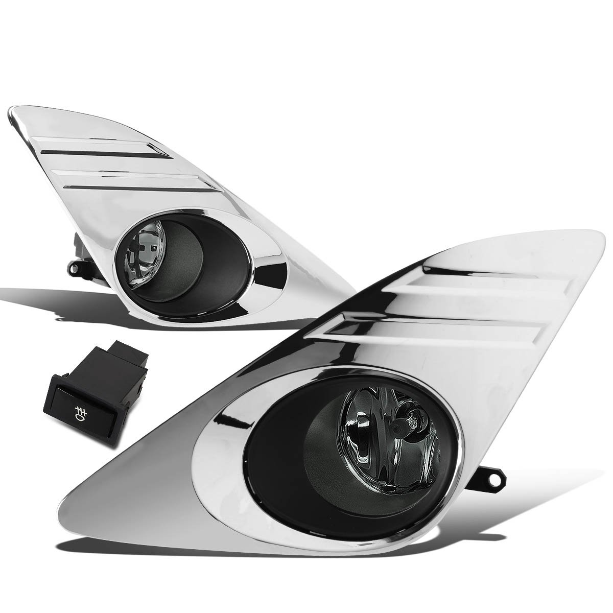 Replacement for Camry XV50 Pair of Bumper Driving Fog Lights w/Bezel & Switch (Smoke Lens)