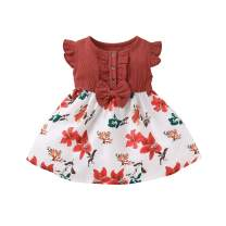 bilison Toddler Baby Girls Summer Dress Outfits Ruffle Bowknot Button Cotton Linen Tops Floral Print Skirt Clothes