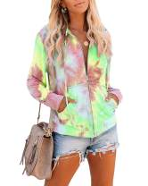 Womens Long Sleeve Zip Up Hoodie Jackets Plus Size Tie Dye Casual Sport Sweatshirt Coats with Pockets