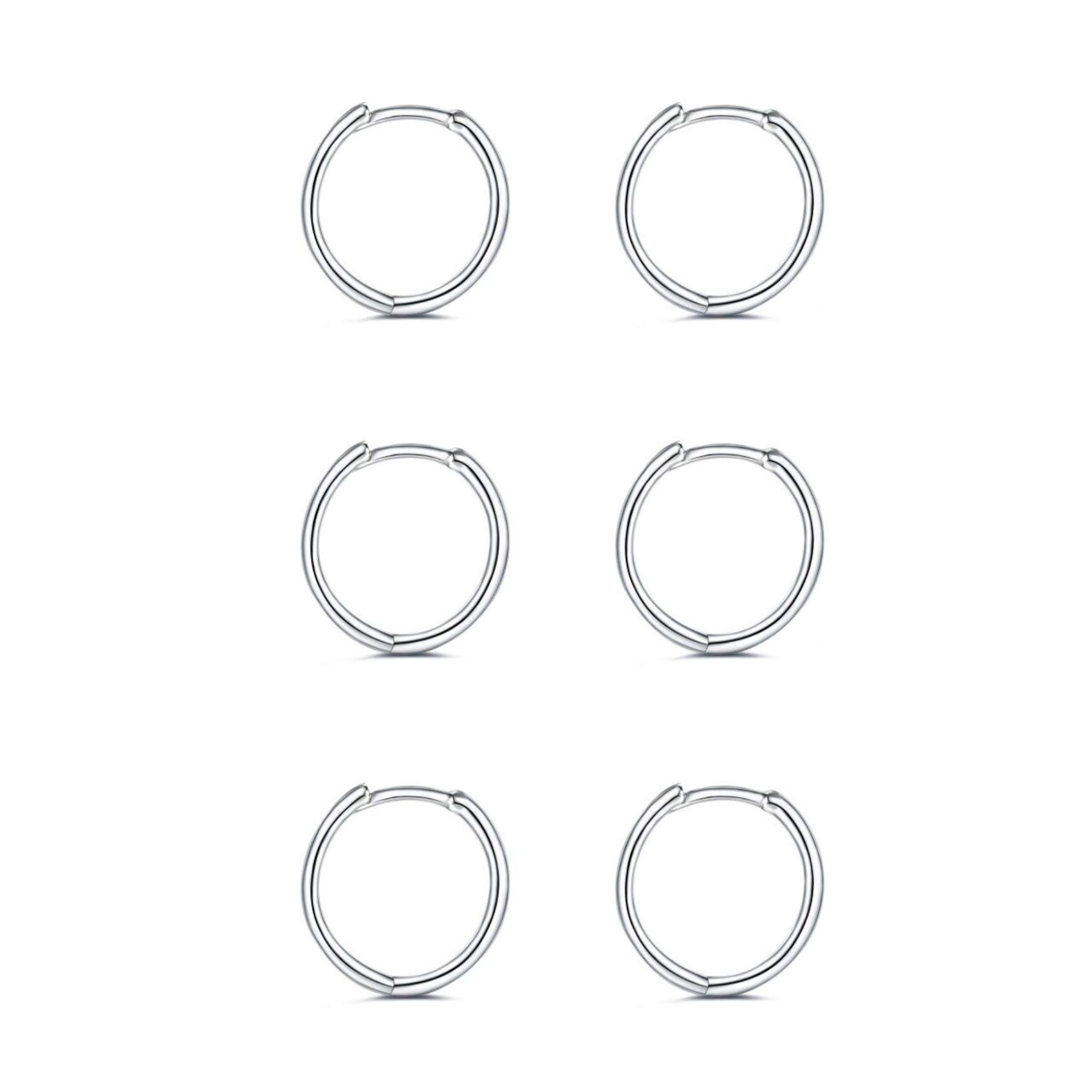 925 Sterling Silver Small Hoop Earrings - 14K White Gold Plated Silver Hoop Earrings | Tiny Endless Huggie Hoop Earring Cartilage Earrings for Women/Girls/Men/Teens