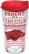 Tervis 1224454 Arkansas Razorbacks Parent Tumbler with Wrap and Red Lid 16oz, Clear