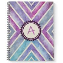 """Watercolor Abstract Monogram""""A"""" Notebook/Journal, Laminated Soft Cover, 120 Wide Ruled pages, lay flat wire-o spiral. Size: 8.5"""" x 11"""". Made in the USA"""