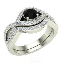 Black & White Criss Cross Diamond Wedding Ring Set w/Band 1.10 Carat Total Weight 14K Gold