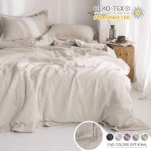 Simple&Opulence 100% Linen Duvet Cover Set with Embroidery Border Stone Washed - 3 Pieces (1 Duvet Cover with 2 Pillow Shams) with Button Closure Soft Breathable Farmhouse - Linen, Queen Size