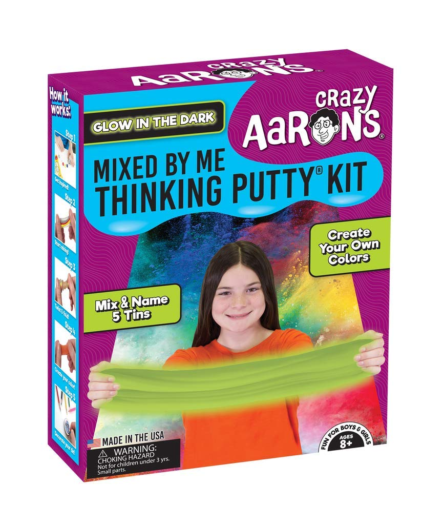 Crazy Aaron's Thinking Putty for Kids - DIY Special Effects Putty Kit (6 Putties Included)- Glow-In-The-Dark, Sparkle, Heat-Sensitive - Includes Colored Pencils and Instructional Mat - Never Dries Out