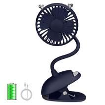 ZONSK Flexible Neck Stroller Fan, Mini Clip On, Portable Battery Operated USB Fan for Desktop, Home, Office, Outdoor, Indoor (Blue)