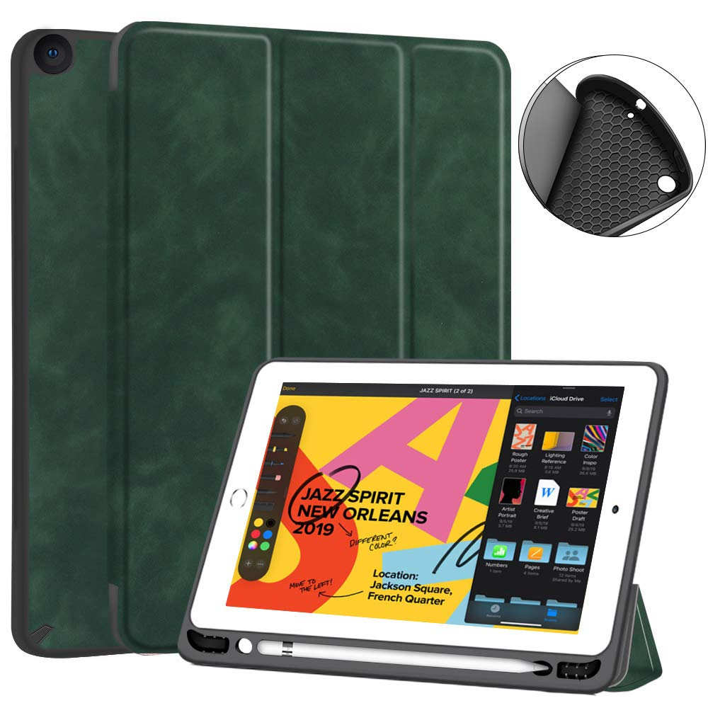 JUQITECH iPad 10.2 Case 2019 iPad 7th Generation Case, Smart Cover Case with Pencil Holder Auto Sleep/Wake Soft TPU Back Shell Protective Case for iPad 7th Gen 10.2 inches A2197 A2198 A2200, Green